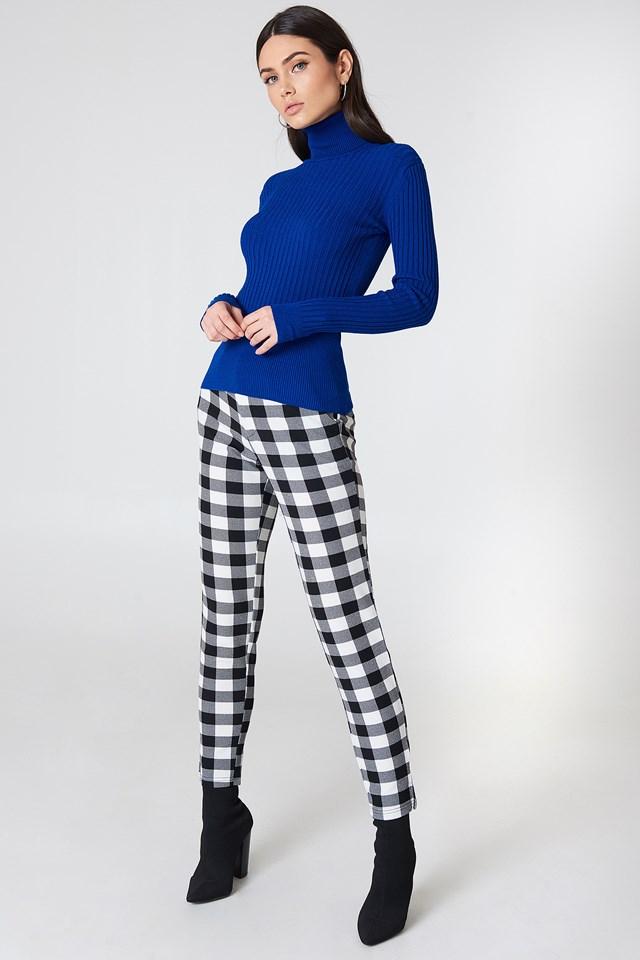 Ribbed Polo Sweater Royal Blue
