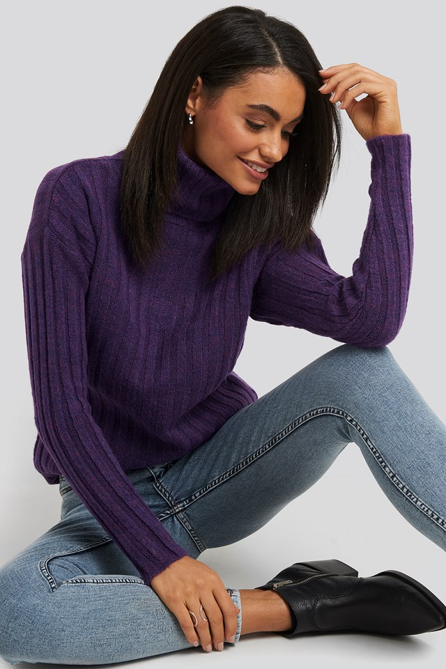 Ribbed Turtleneck Knitted Sweater Trendyol