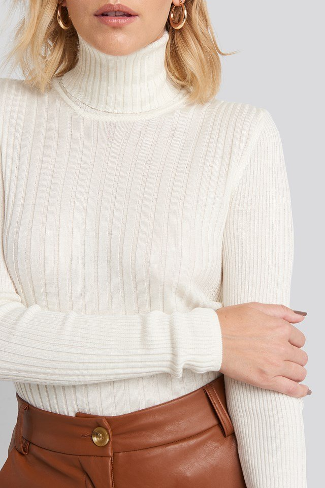 Ribbed Turtleneck Sweater Ecru