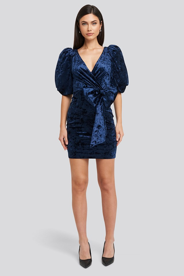 Ribbon Detailed Balloon Sleeve Dress Navy
