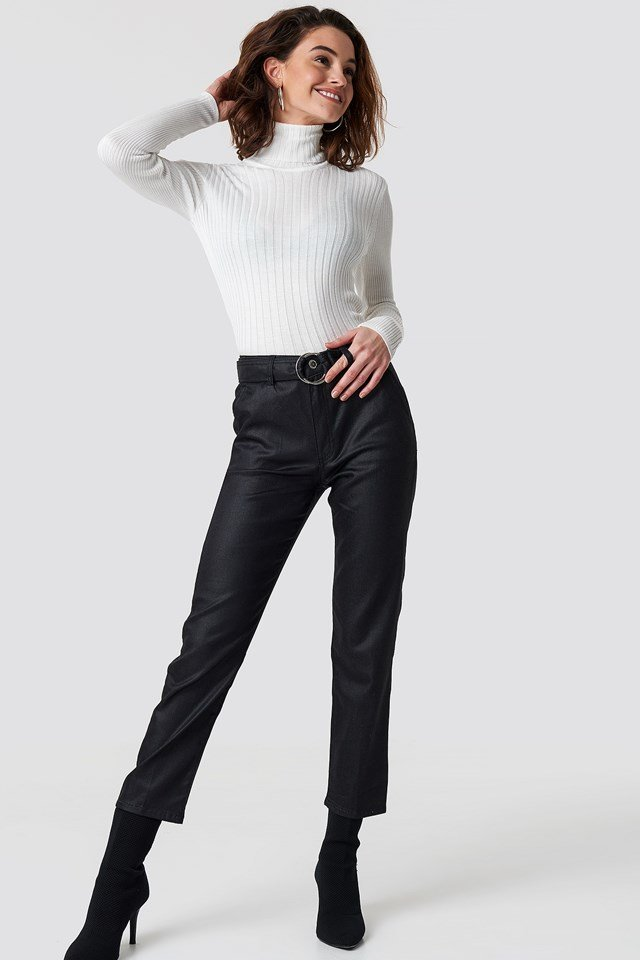 Ring Binding Detailed High Waist Jeans Black