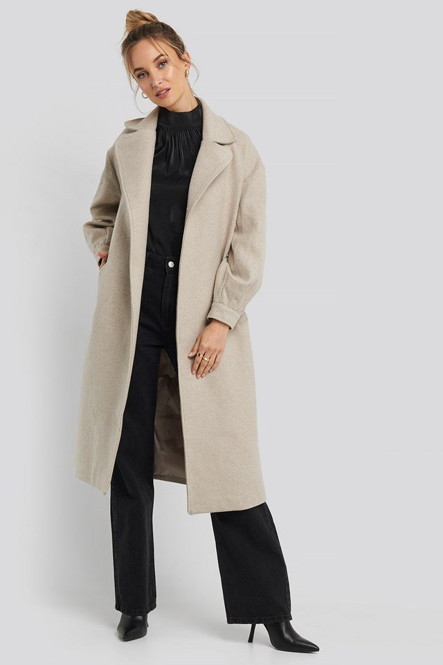 Ring Buckle Belt Detailed Long Coat Stone