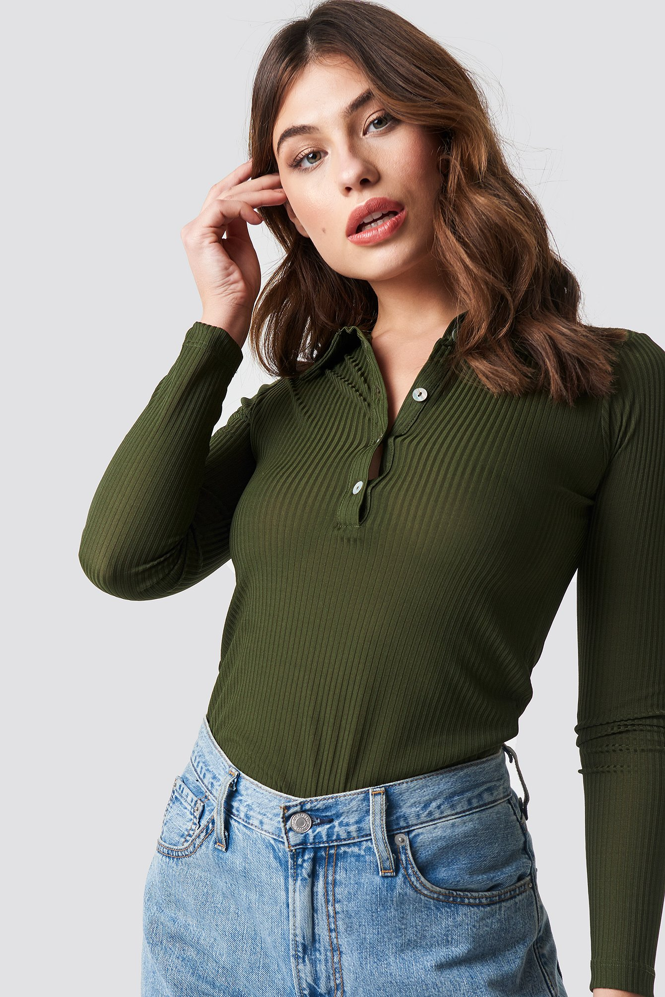 Polo Collar Knitted Blouse NA-KD.COM