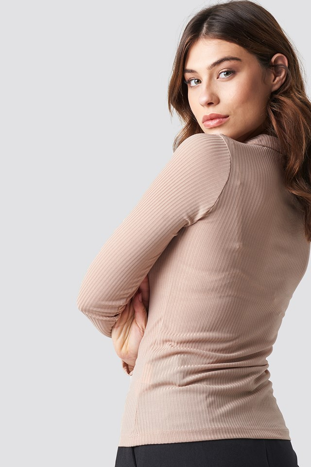 Polo Collar Knitted Blouse Powder Pink
