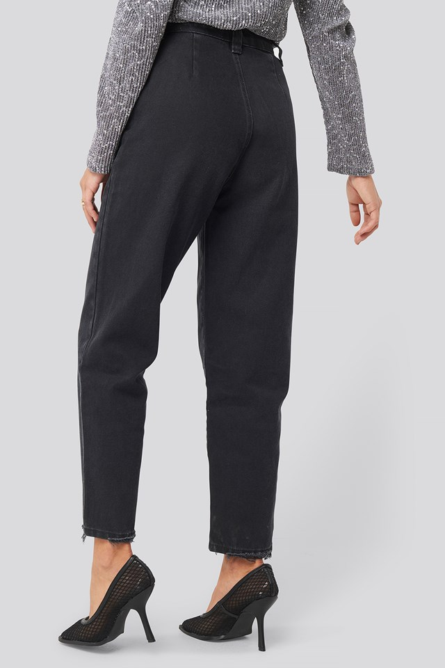 Ripped Detail High Waist Mom Jeans Black