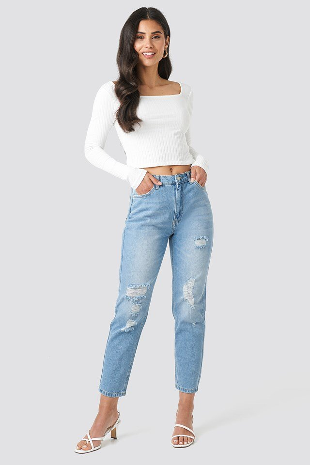 Ripped Detailed High Waist Mom Jeans Trendyol