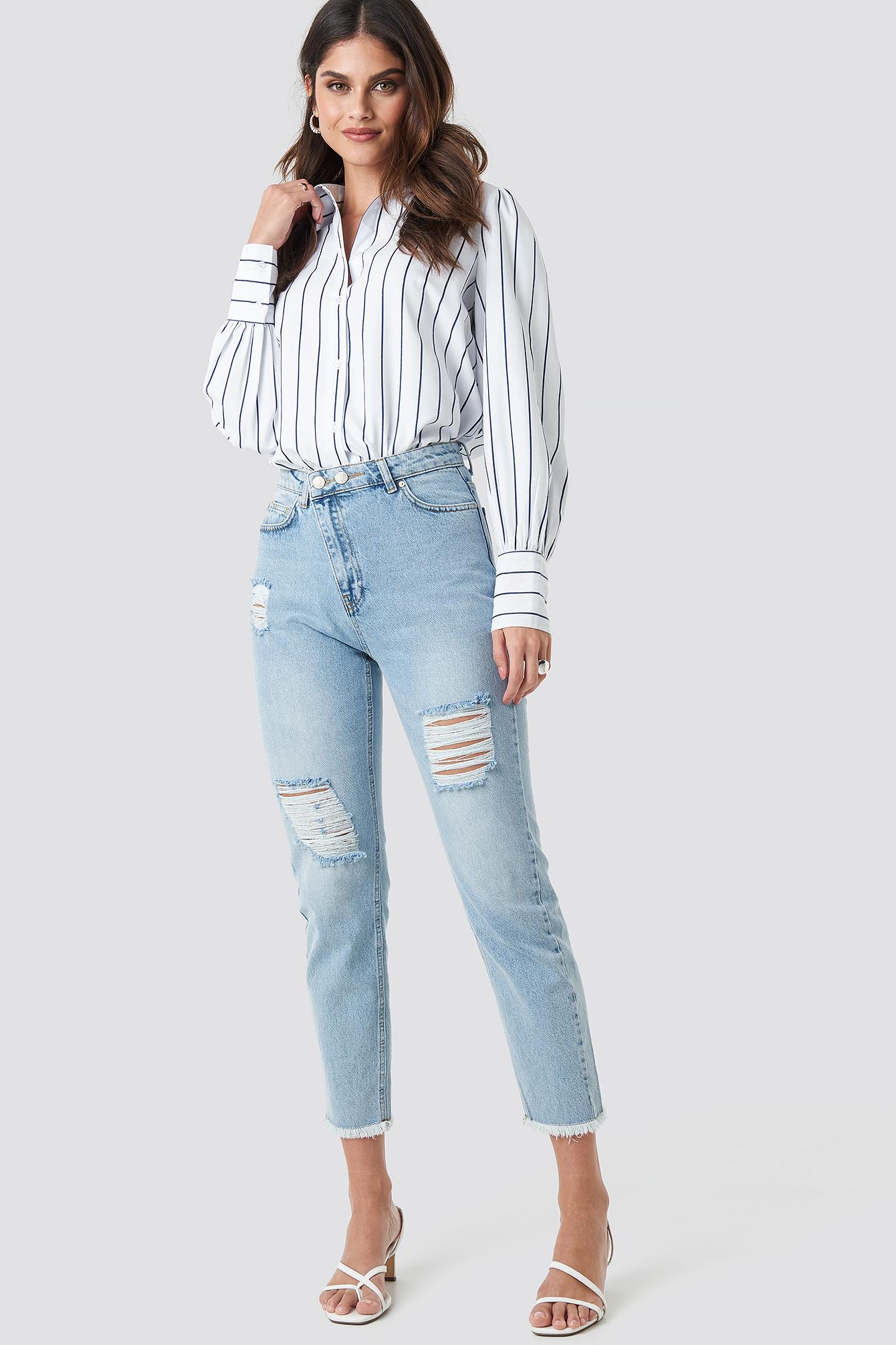 Ripped Detailed High Waist Mom Jeans NA-KD.COM