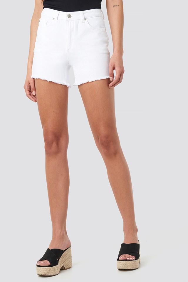 Ripped Hem Denim Shorts White