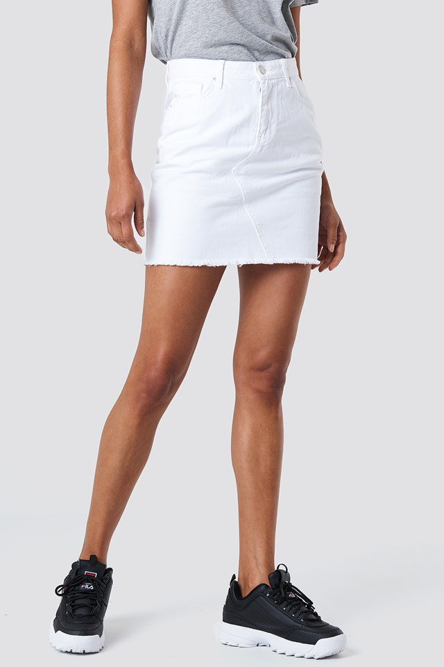 Ripped Hem Denim Skirt White