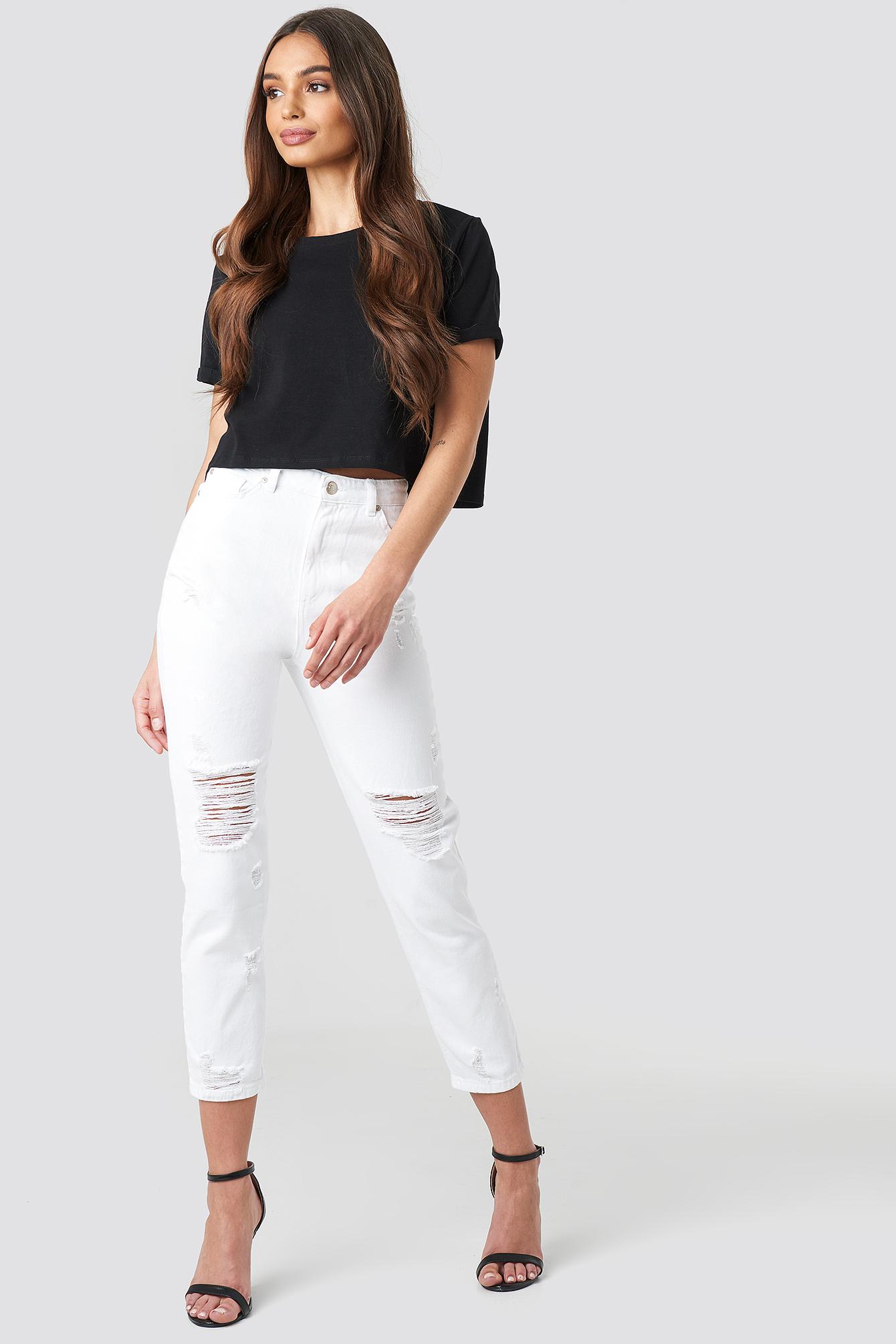 Ripped Knees High Waist Mom Jeans NA-KD.COM