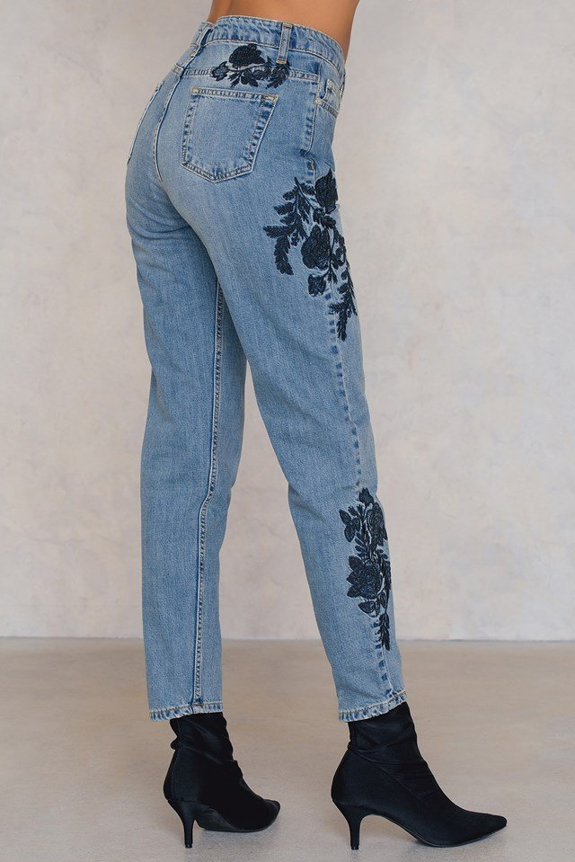 Rose Embroidered Jeans Blue