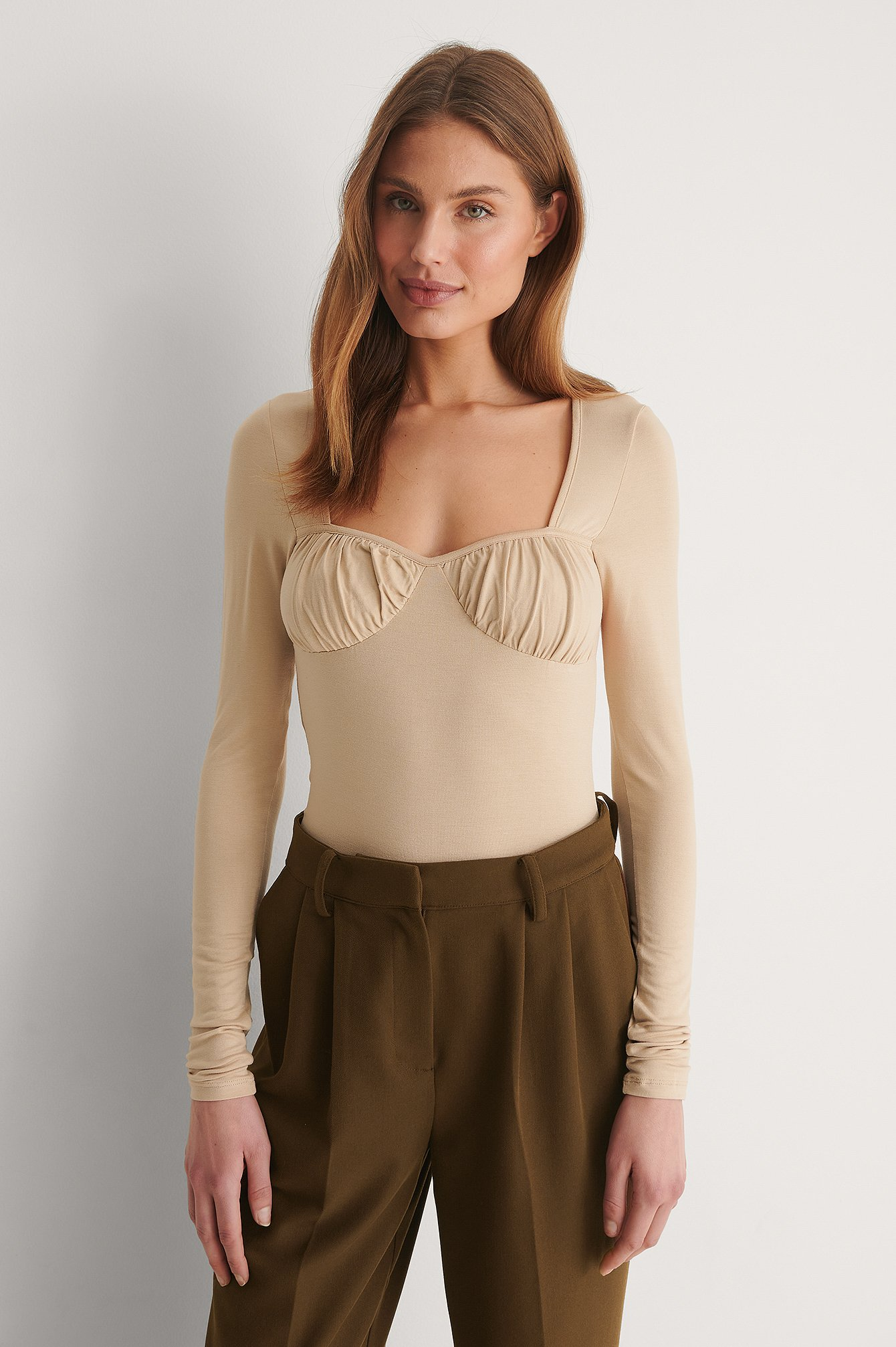 Beige Rouched Cup Detail Top