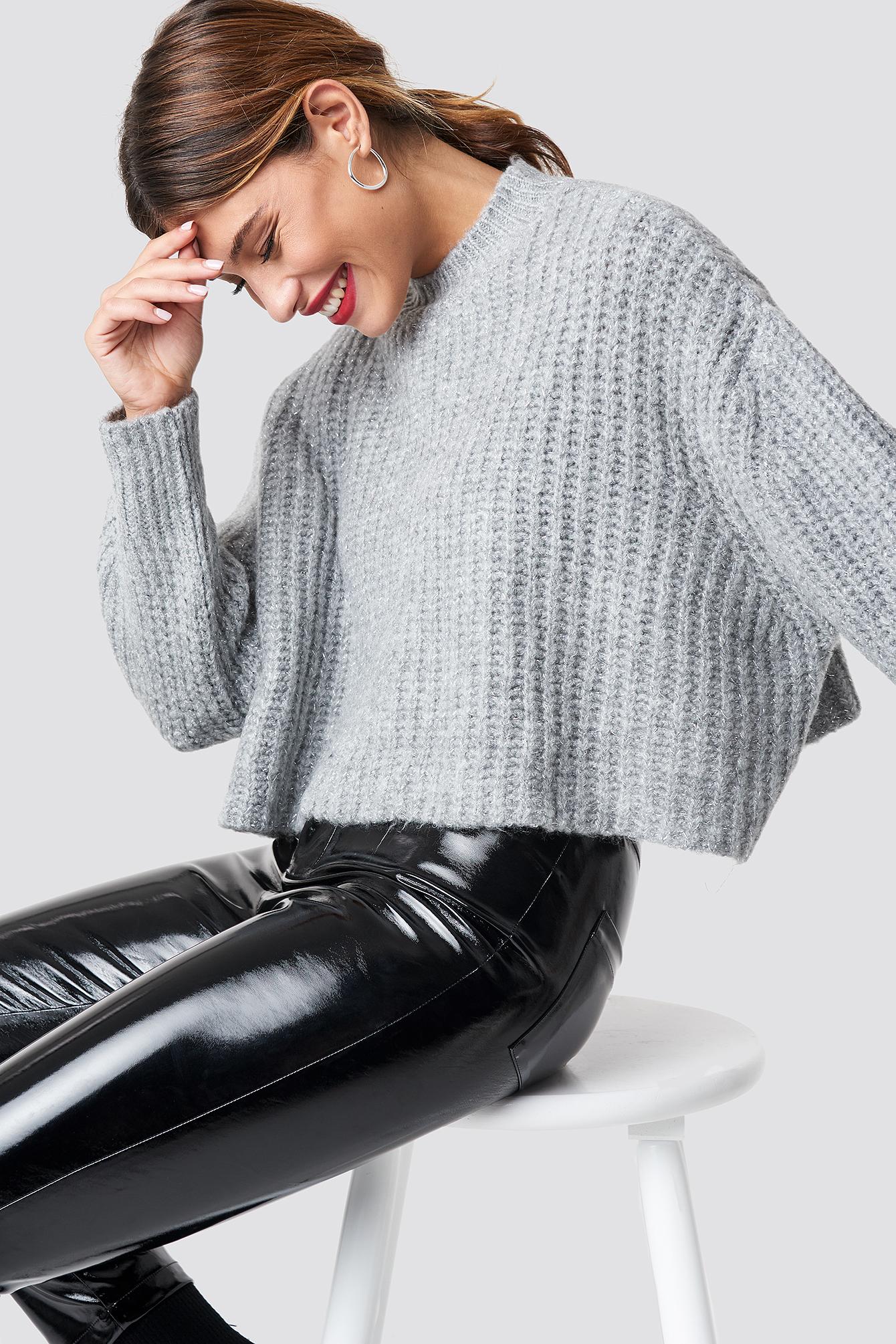 trendyol -  Round Glittery Neck Short Knitted Jumper - Grey