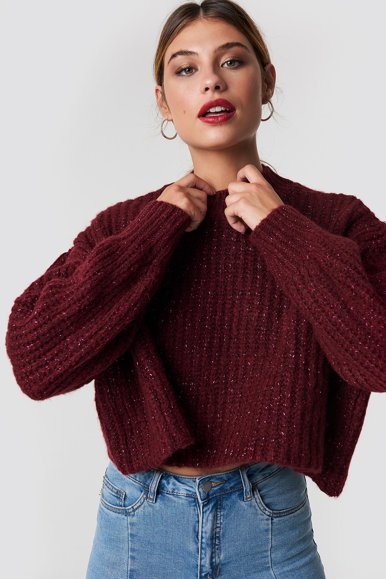 trendyol -  Round Glittery Neck Short Knitted Jumper - Red