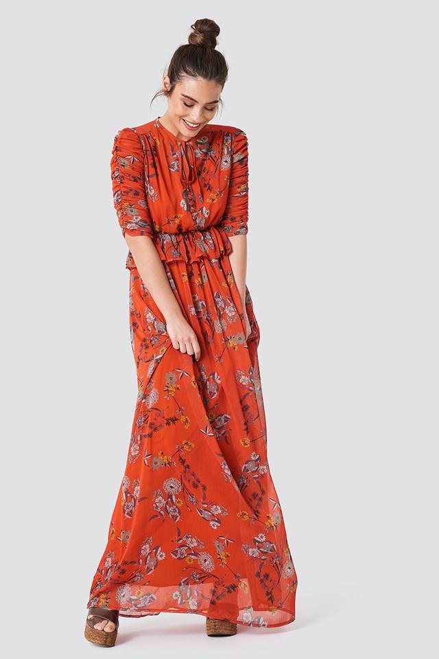 Ruched Sleeve Maxi Dress Orange