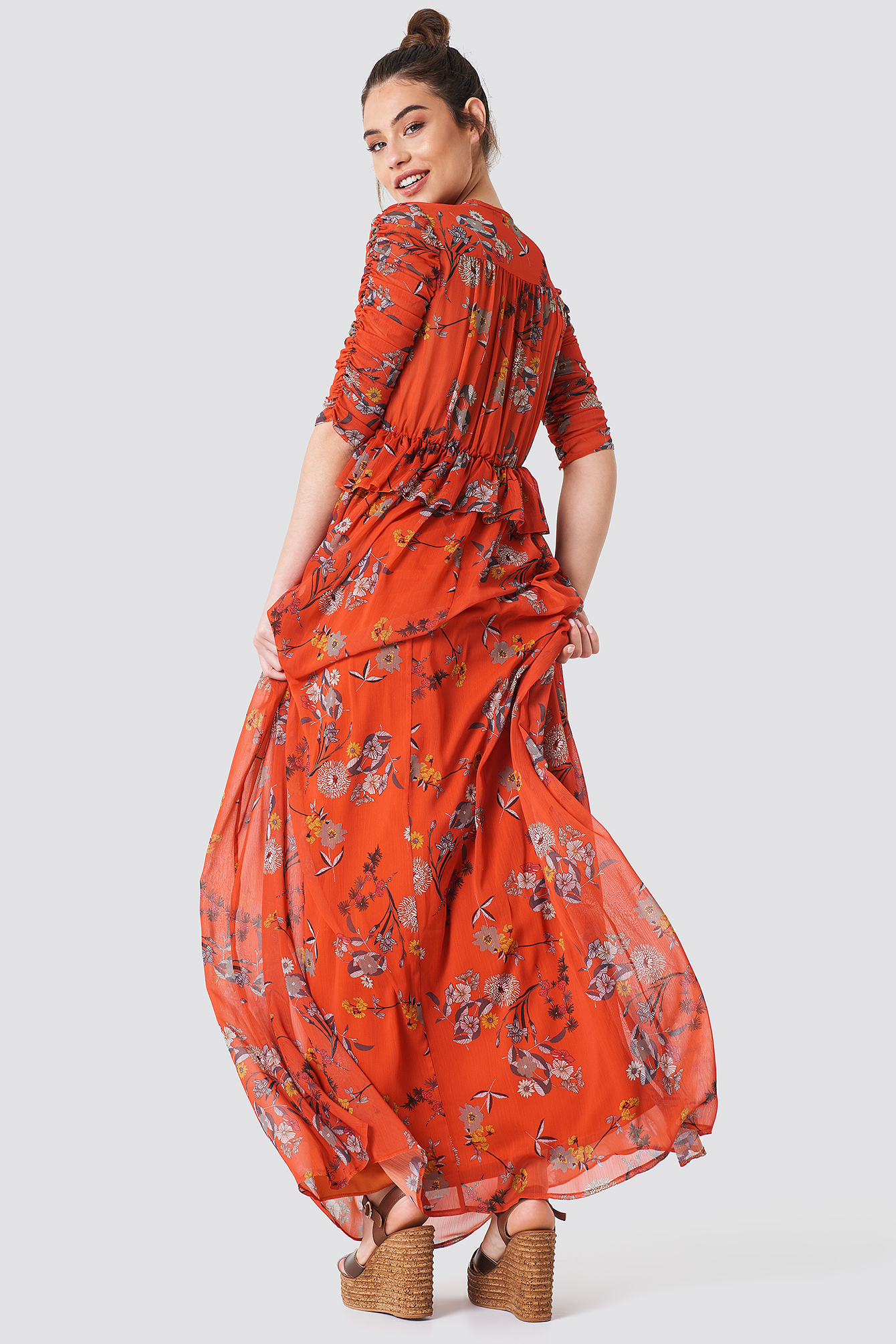 Ruched Sleeve Maxi Dress NA-KD.COM