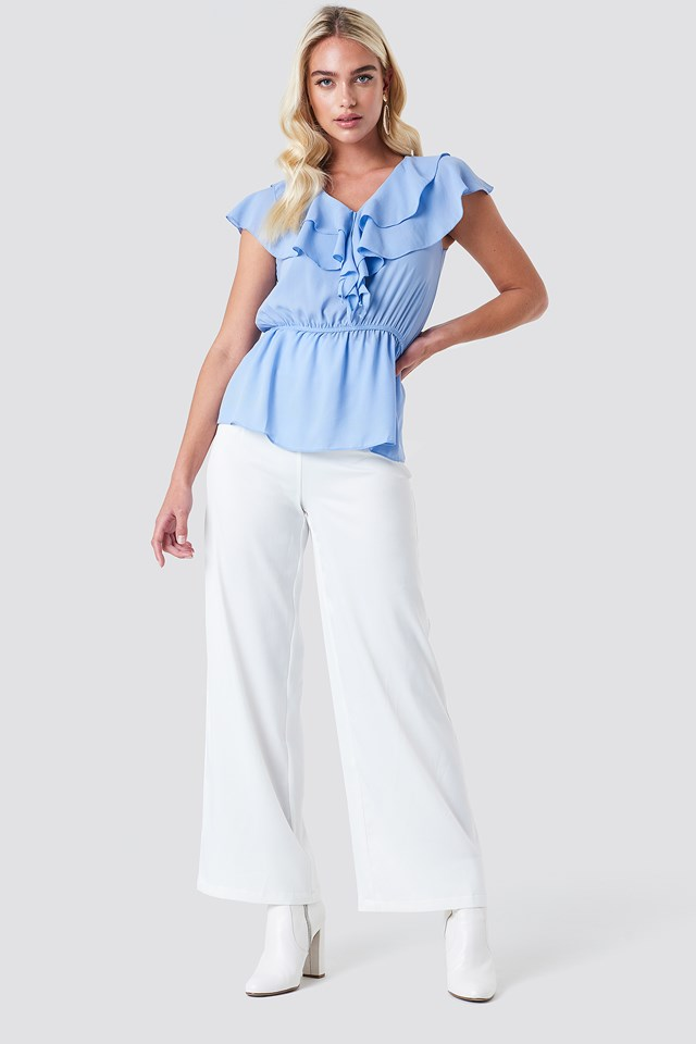 Ruched Waist Frill Top Blue