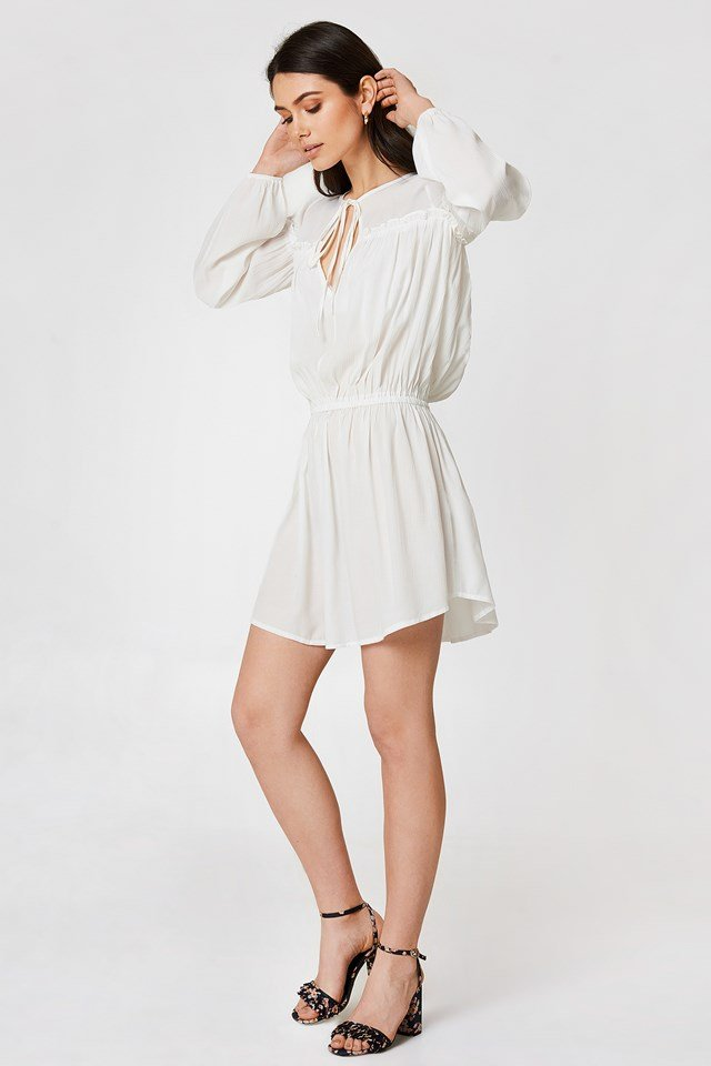 Ruched Waist Mini Dress Ecru