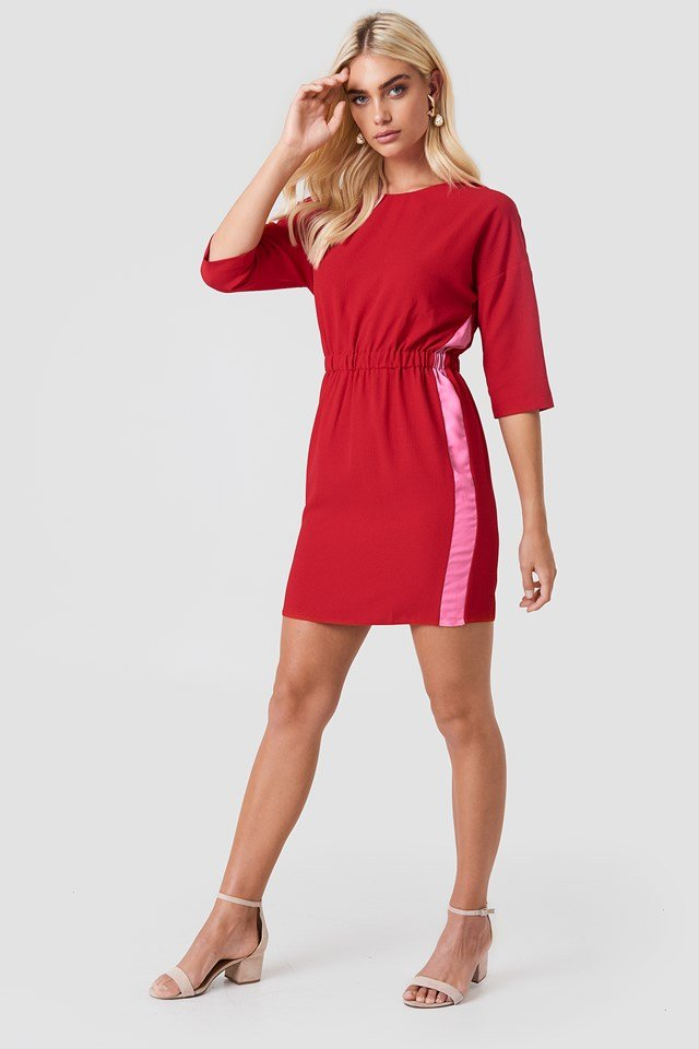 Ruched Waistband Dress Red