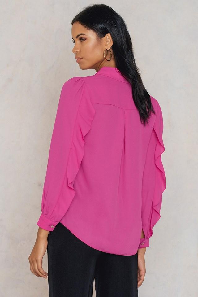 Ruffle Balloon Sleeve Blouse Pink