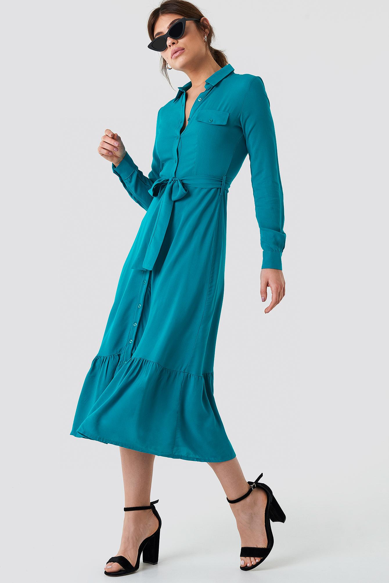 Ruffle Bottom Shirt Dress - Turquoise