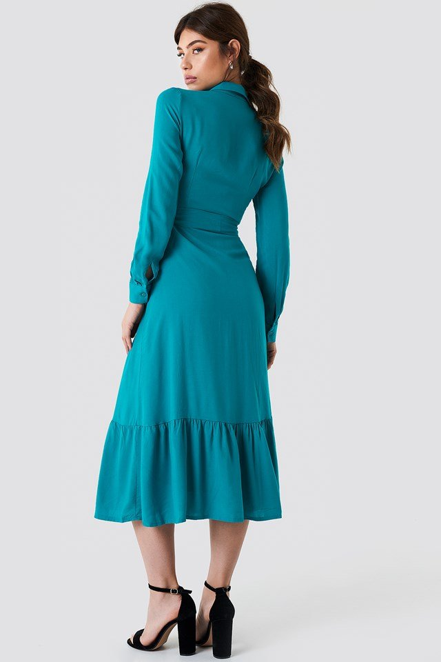 Ruffle Bottom Shirt Dress Turquoise