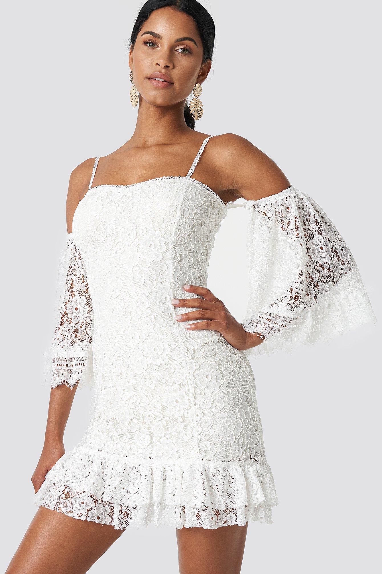 TRENDYOL RUFFLE BOTTOM LACE DRESS - WHITE, OFFWHITE