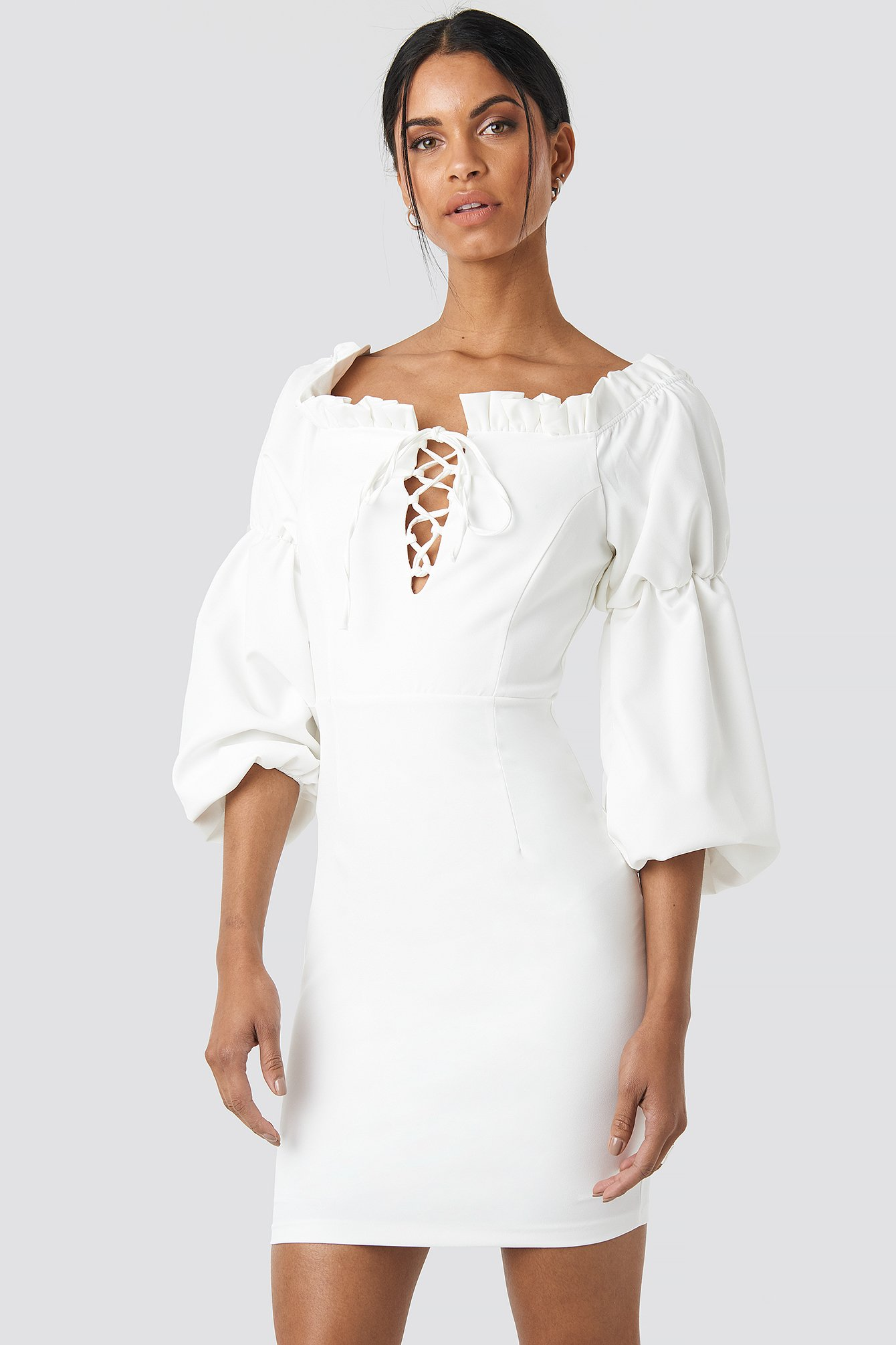 Ruffle Collar Detail Dress NA-KD.COM