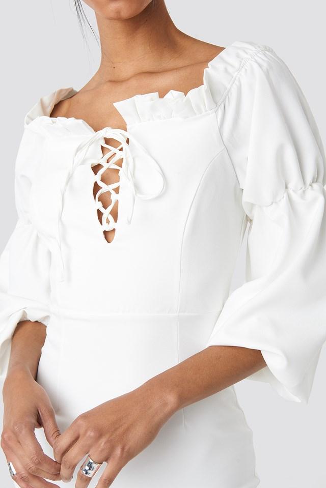 Ruffle Collar Detail Dress Ecru