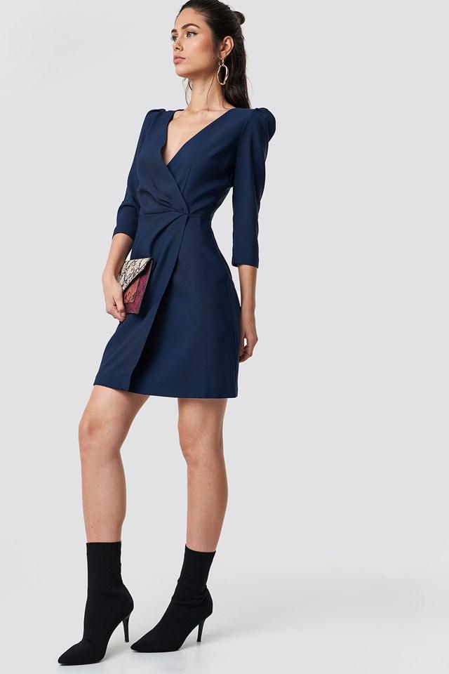 Ruffle Collar Dress Navy