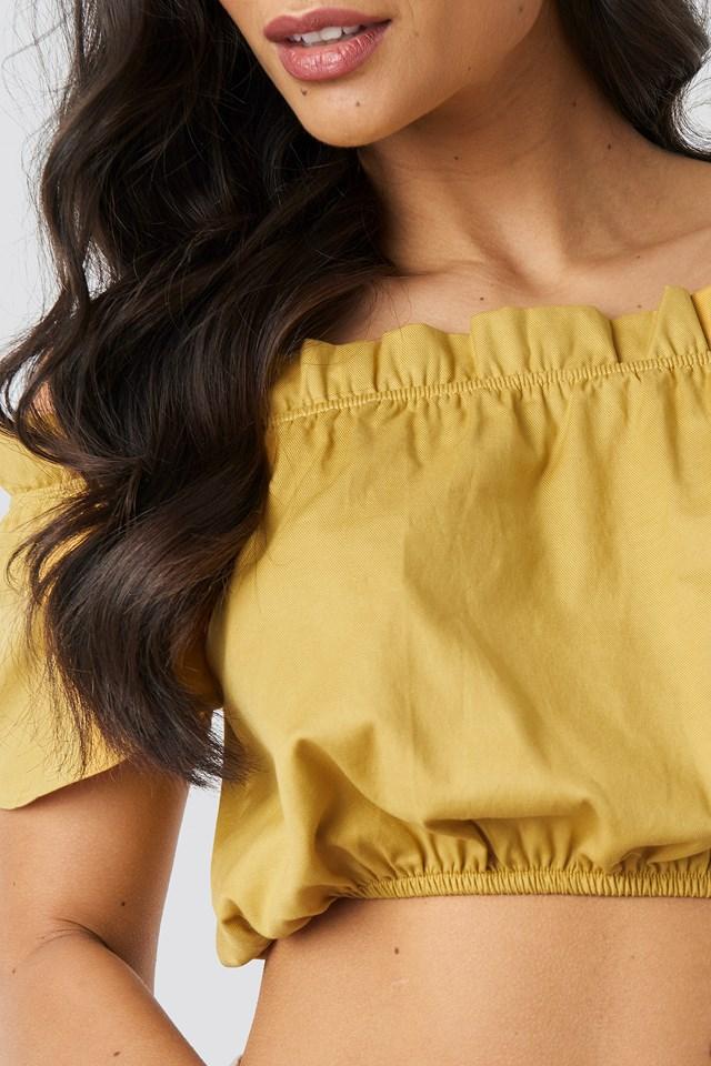 Ruffle Detail Crop Blouse Yellow
