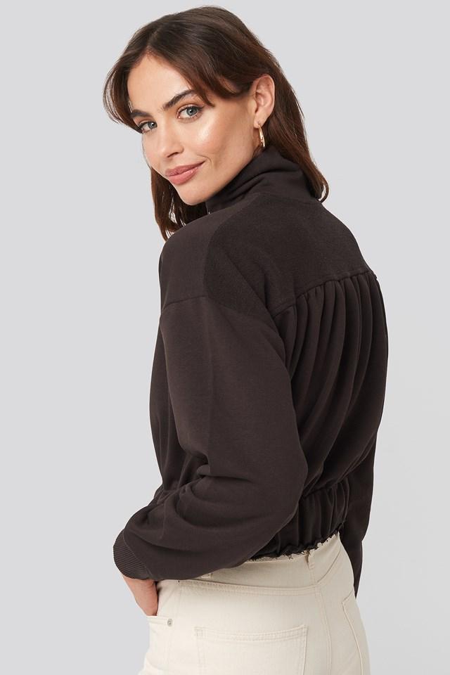 Ruffle Detail Crop Knitted Sweatshirt Brown