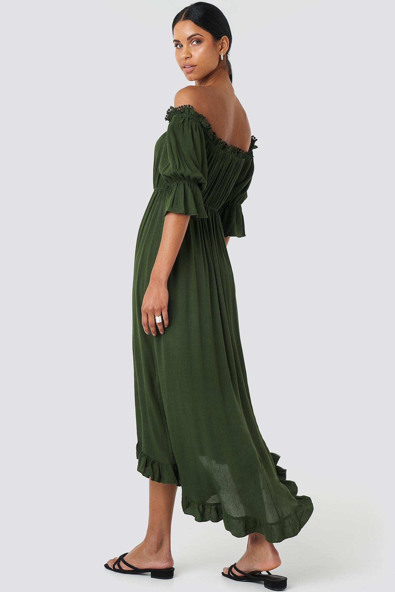 Ruffle Detail Maxi Dress NA-KD.COM