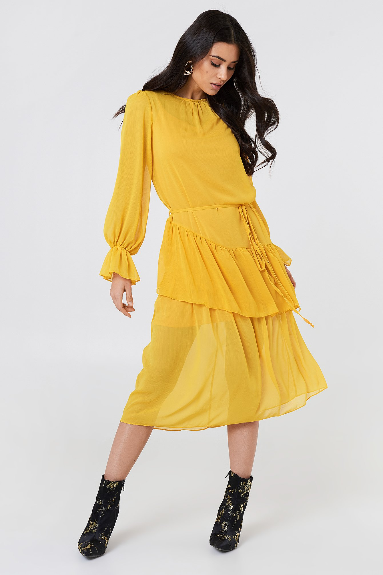Ruffle Detail Midi Dress NA-KD.COM