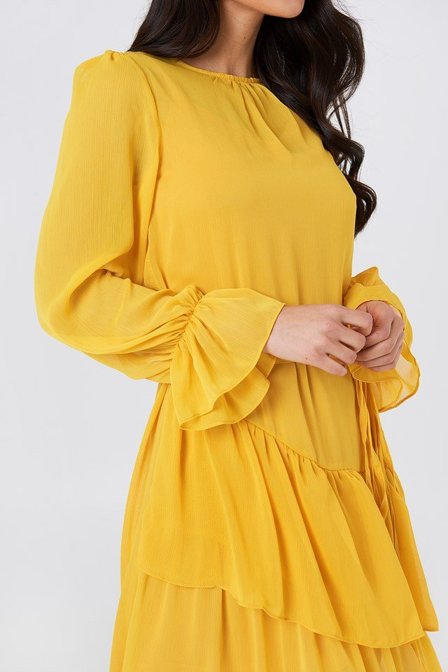 Ruffle Detail Midi Dress Yellow