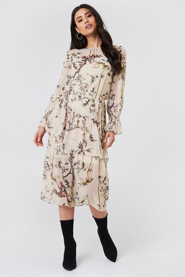 Ruffle Detail Midi Dress Powder Pink