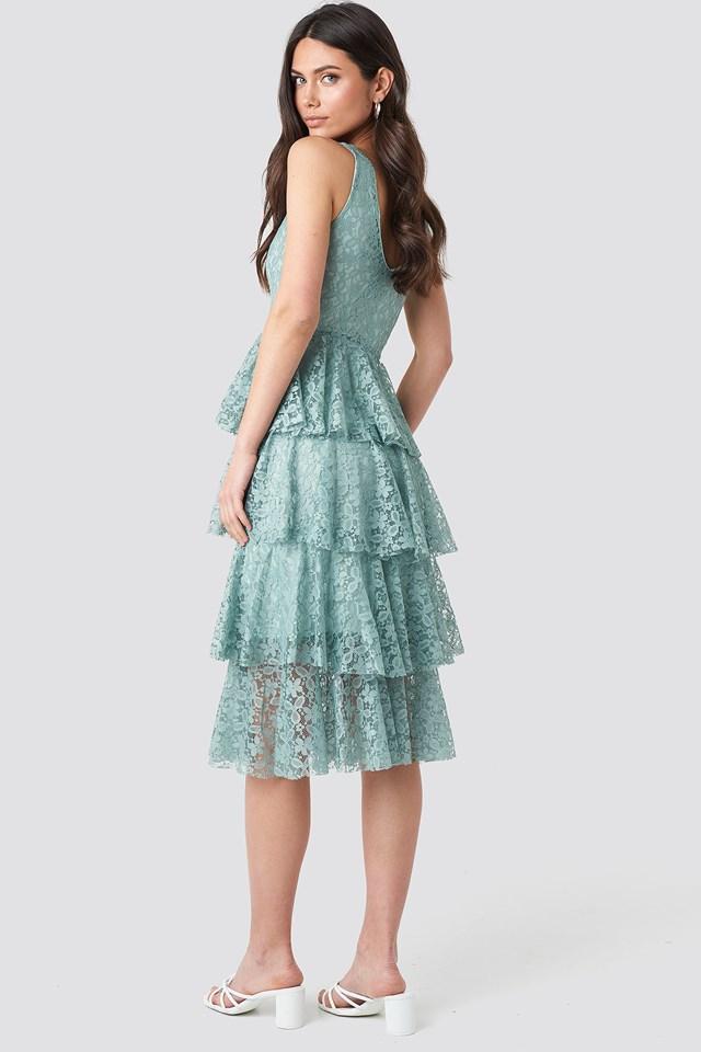 Ruffle Detail Midi Dress Mint