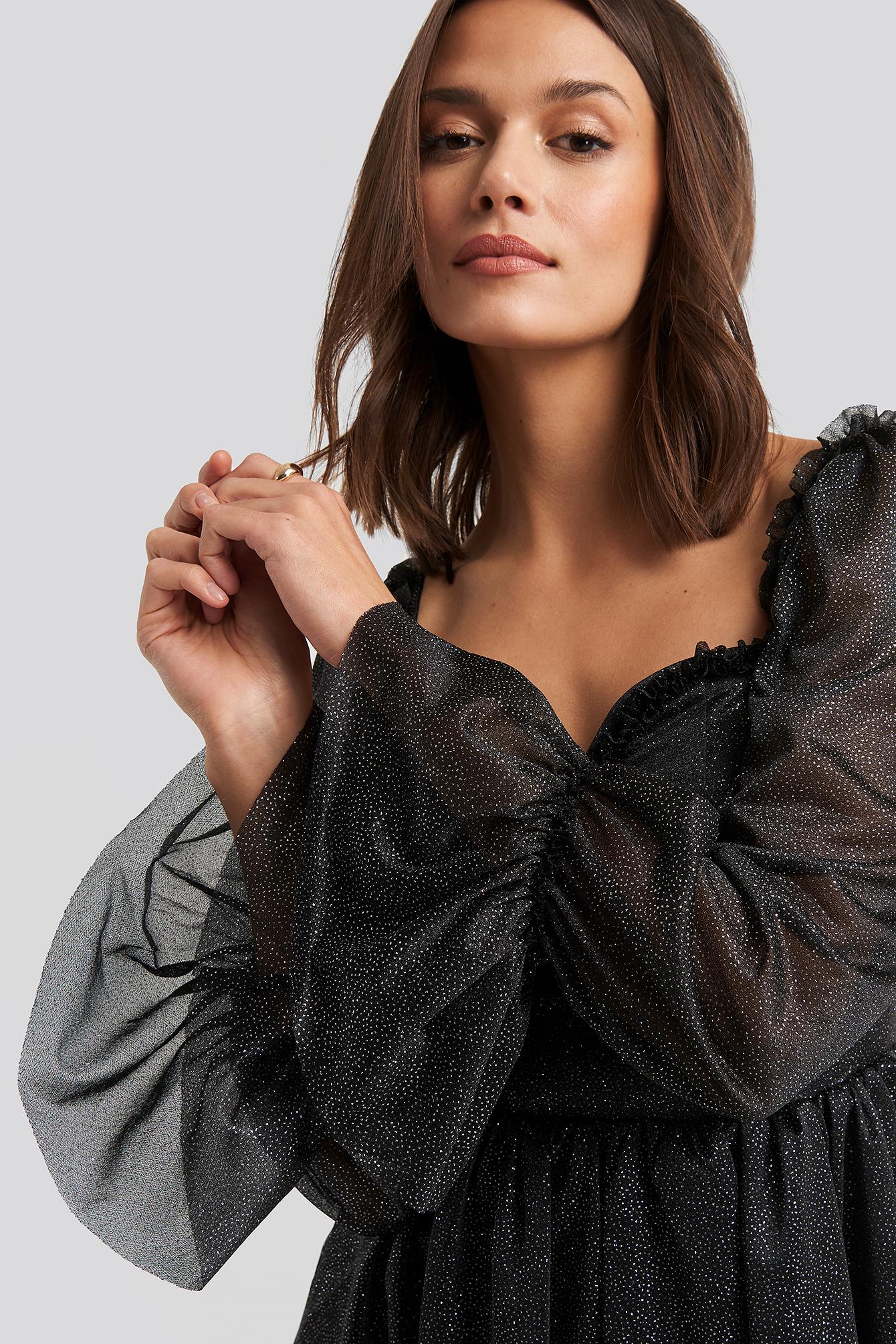 trendyol -  Ruffle Detail Mini Dress - Black