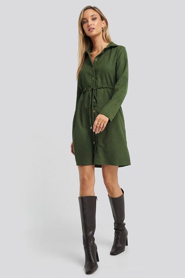Ruffle Detail Mini Dress Khaki