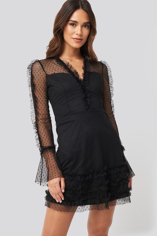 Ruffle Detail Mini Dress Black