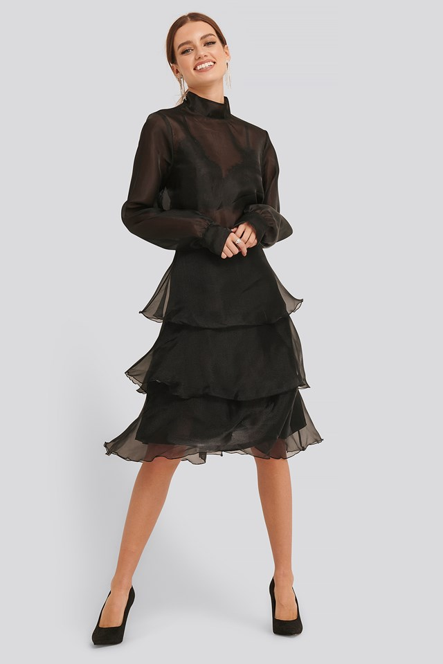 Ruffle Detail Skirt Black