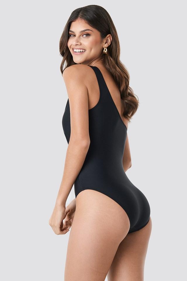 Ruffle Detail Swimsuit Black