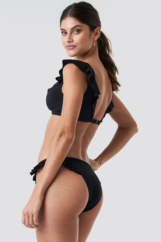 Ruffle Detailed Bikini Bottom Black