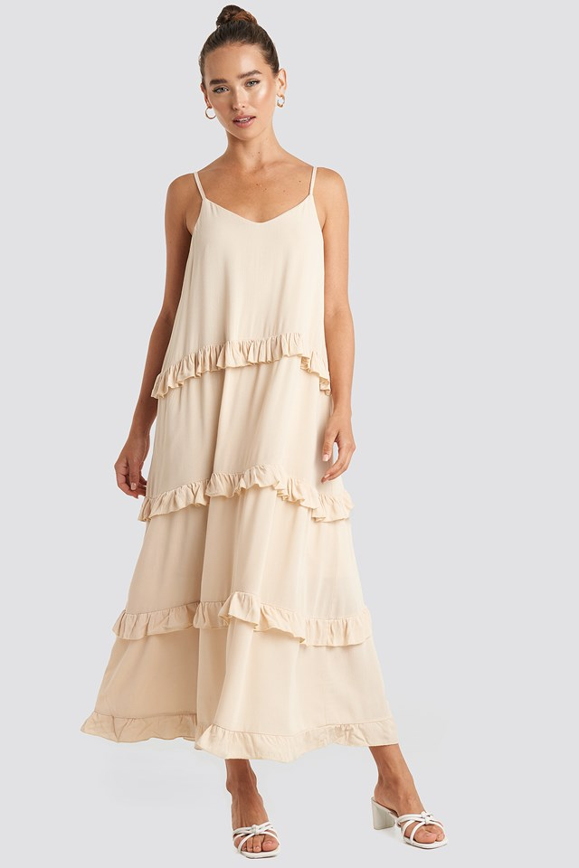 Ruffle Detailed Maxi Dress Stone