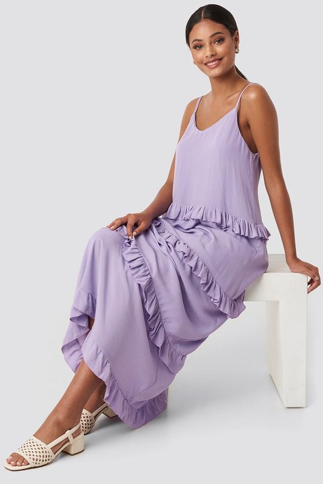 Ruffle Detailed Maxi Dress Lila