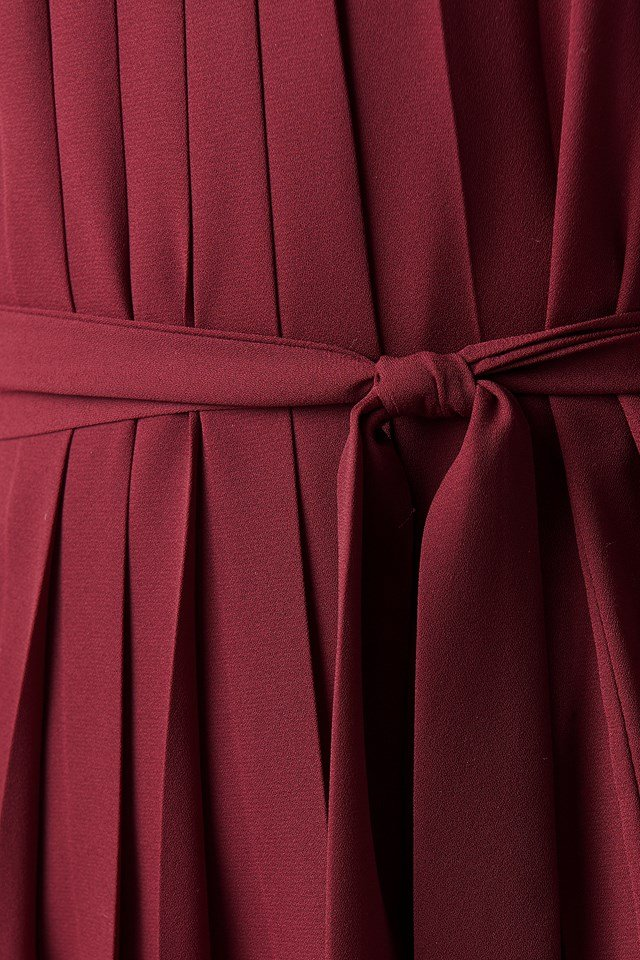 Ruffle Detailed Mini Dress Burgundy