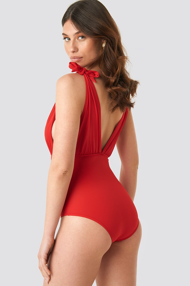 Ruffle Detailed Swimsuit Red