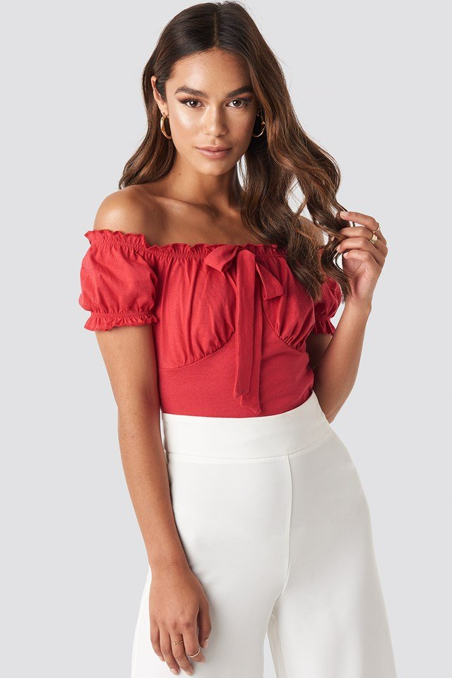Ruffle Detailed Top Red