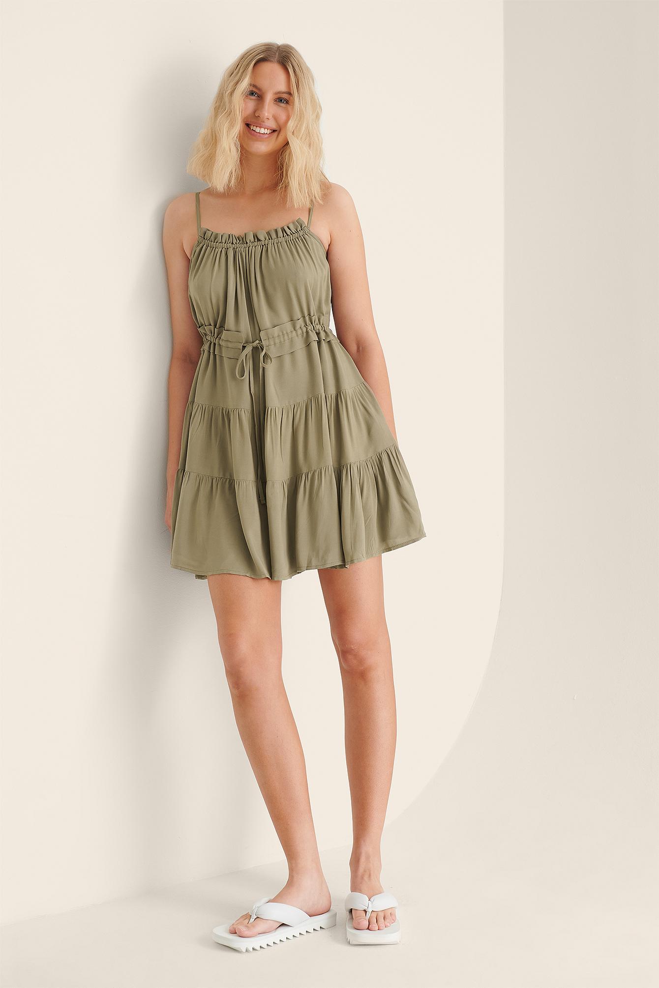 trendyol -  Rüschendetail Mini-Kleid - Green