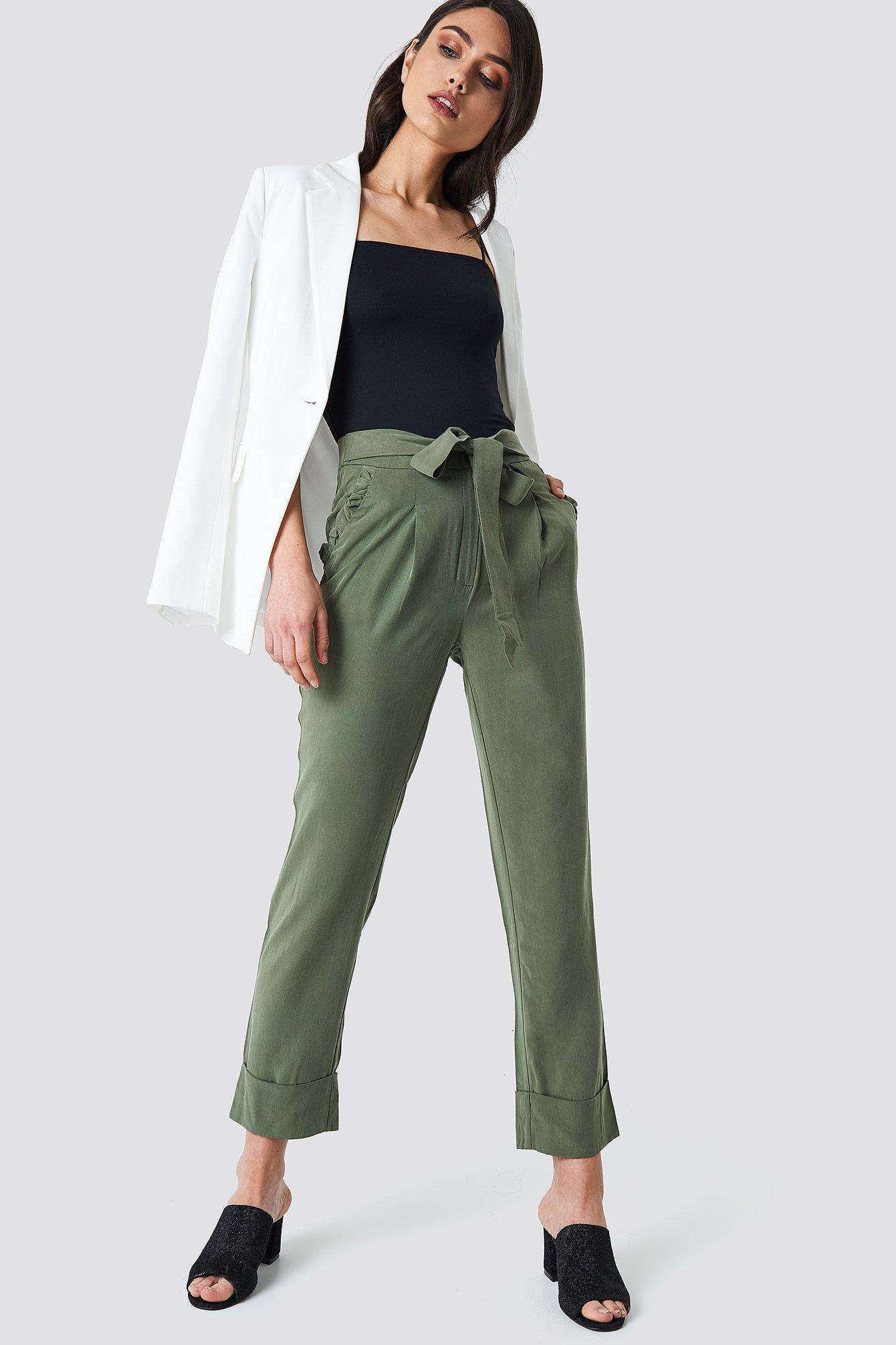 Ruffle Pocket Pants NA-KD.COM